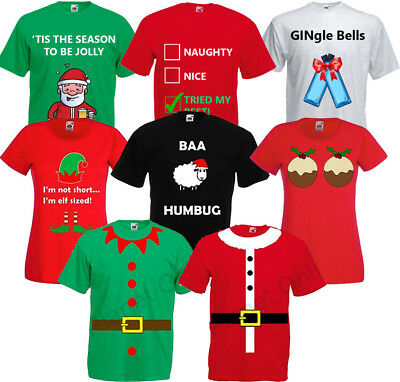 Ladies Adults Novelty Funny Christmas T Shirt Top Fancy Dress Xmas Santa Claus