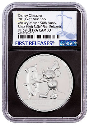 2018 Niue Mickey Mouse 90th UHR 2 oz Silver $5 NGC PF69 UC FR Blk Core SKU54550