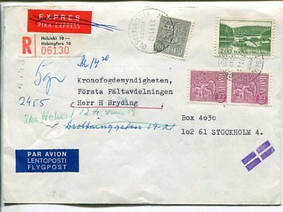 Finland reg express air mail cover to Sweden 21.11.1968