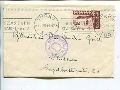 Finland censor cover to Sweden 23.12.1944