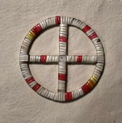 Beautiful Neat Lakota Sioux Porcupine Quilled Medicine Wheel Quilled On Rawhide