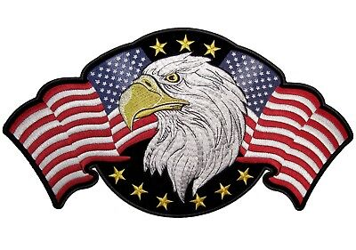 Patriotic American Flags Eagle Embroidered Biker Patch FREE SHIP
