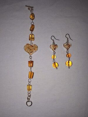 Amber and silver bracelet and earrings set