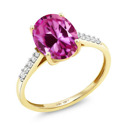 3.37 Ct Oval Pink Created Sapphire White Diamond 10K Yellow Gold Ring