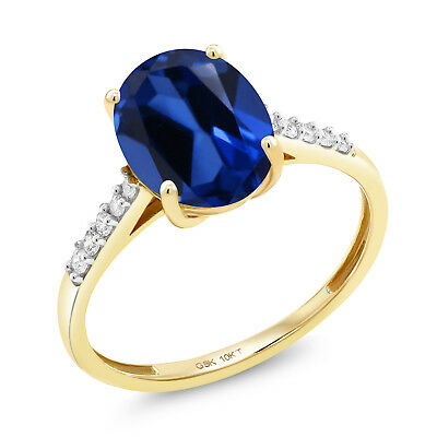 3.42 Ct Oval Blue Created Sapphire White Diamond 10K Yellow Gold Ring