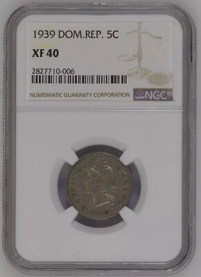 Dominican Republic 1939 5 Cents Key Date NGC XF-40