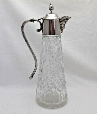Vintage Glass Wine Claret Jug with Silver Plated Top with Mask Spout