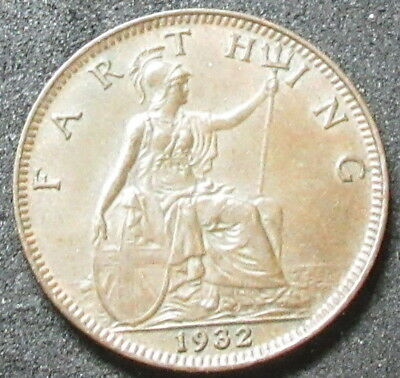 1932 Great Britain Farthing Coin