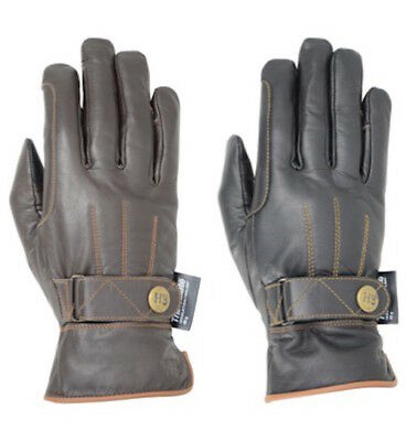 Hy5 Thinsulate Leather Winter Horse Riding Gloves Equestrian Black / Tan