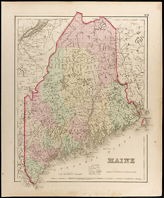 Colton, Antique Map of 1857 : Maine [Original] State of the United States