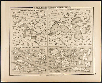 Colton, Antique Map of 1857 : Comparative size of Lakes and Islands [Original]