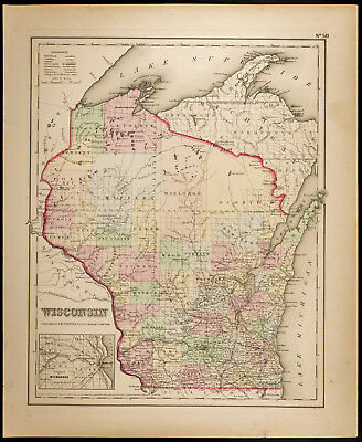 Colton, Antique Map of 1857 : Wisconsin [Original] / United States of America