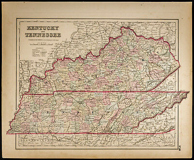 Colton, Antique Map of 1857 : Kentucky and Tennessee [Original] / USA