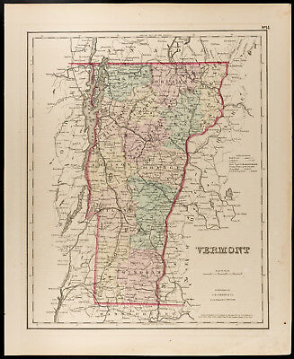 Colton, Antique Map of 1857 : Vermont [Original] State of the United States