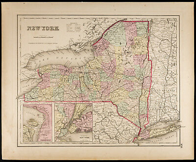 Colton, Antique Map of 1857 : New York [Original] State of the United States