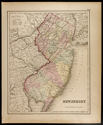 Colton, Antique Map of 1857 : New Jersey [Original] State of the United States
