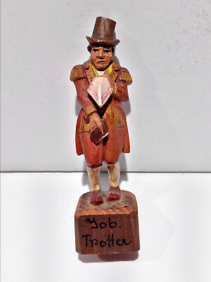 """Vintage Hand Carved Wood Man in Top Hat Figurine 3.25"""" Italy Yob Trotter ANRI ?"""