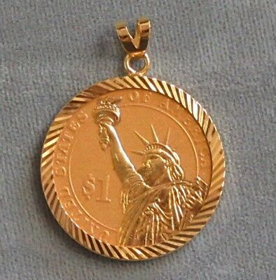 Gold Plated U.S. President $1.00 Coin In Gold-Overlay Sterling Diamond Cut Bezel