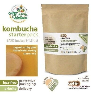 Premium Organic Kombucha Scoby and Starter Tea (makes 1.5 litres) PRIORITY MAIL