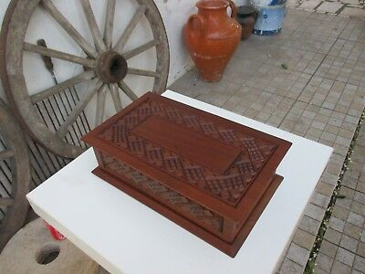 Antique Portuguese Large Size Beautiful Ornate Carved Mahogany Wood Box Wooden