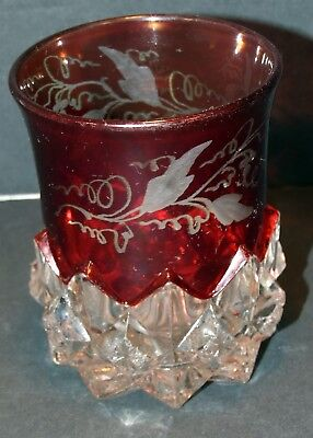 Vintage Glass Ruby Red Flashed Diamond Point With Star Glass