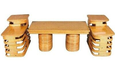 Mid Century Modern Paul Frankl Style Bentwood Rattan Bamboo Coffee End Table Set