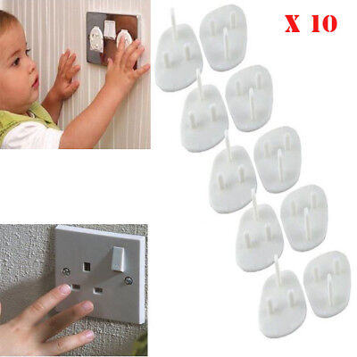 10 x Plug Socket Covers Children Baby Kids Safety Protector for UK 3 Pin Sockets