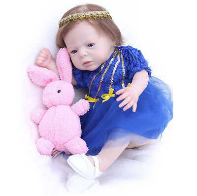 """+Clothes mohai Hair 20"""" With Rabbit Lifelike Silicone Girl Toy Baby Reborn Dolls"""