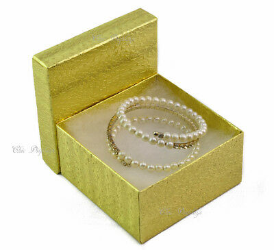 """LOT OF 100 GOLD COTTON FILLED BOX JEWELRY BOX PARTY BOX LARGE 3 3/4"""" x 2""""H BOXES"""
