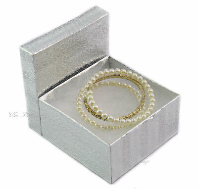 """< Best Deal> Lot Of 100 Silver Cotton Filled Box Jewelry Box Party Box Large 2""""h"""