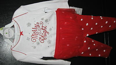 1d52026bf Nwt Carters Baby Girl Merry Christmas Lot Bodysuit/Tutu Holiday Size 3  Months