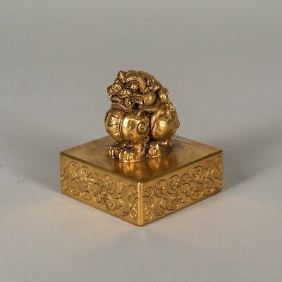 Chinese Antique Gilt Bronze Seal