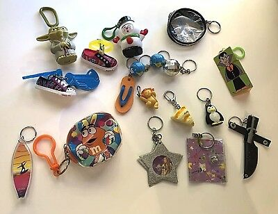 Lot- 19 Keychains Good for Kid Collectors - Vintage, Collectible, Animals, Toys