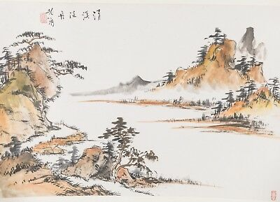 Chinese Antique/Vintage Ink Brush Painting Of Lake View