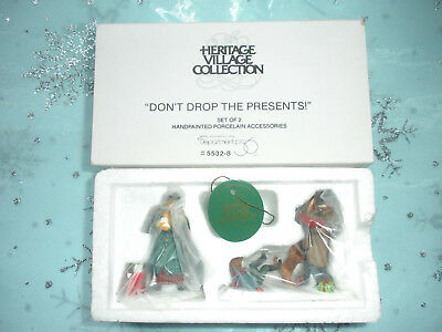 "Dept 56 Heritage Village ""Don't Drop The Presents"" Set of 2 Accessories"
