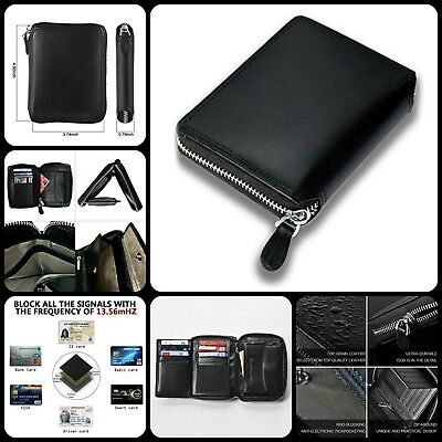 Mens Zip Around Opening Trifold RFID Blocking Wallet Anti Theft Cards Protector