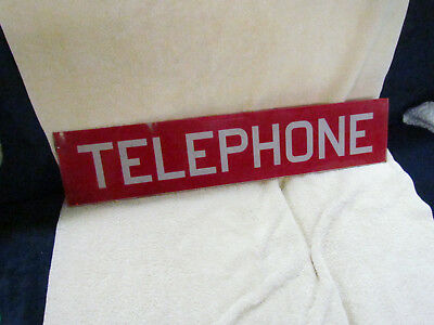 Vintage / Antique Red Glass Telephone Sign 25 1/2 Inches Long NICE