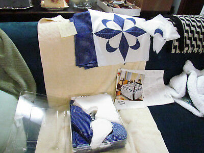 Box Of CLEAN Vintage Star & Crescent White Blue Quilt Patches Pattern Material
