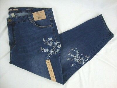 65abf15fef2 Ruff Hewn Madison Women s Size 24W Embroidered Skinny Ankle Denim Jeans NWT