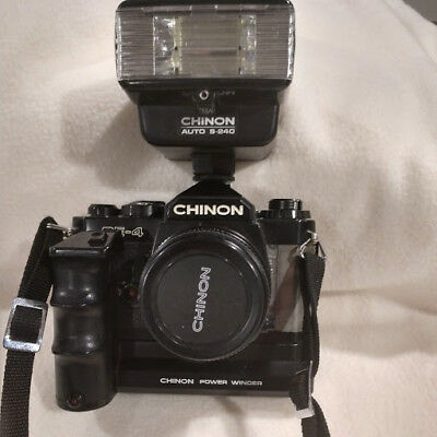 Vintage Chinon 35mm camera with auto winder