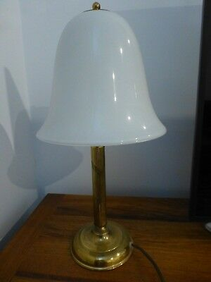 Antique style lamp milk glass light shade brass base EUC