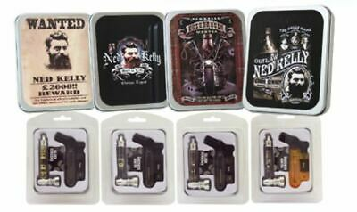 Ned Kelly Pipe with 5 Silver Screens and Jet Lighter with Collectable Tin Smoke