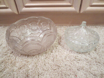 Vintage Collectible Antique Clear Candy Dish Bowls -- One With Lid -- Beautiful