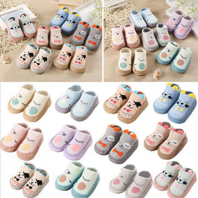 Newborn Baby Boys Girls Cartoon Ears Floor Socks Anti-Slip Baby Slippers Shoes