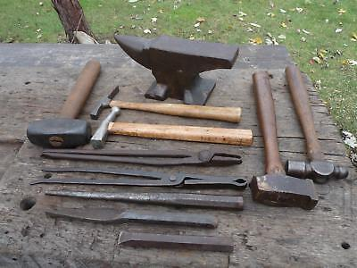 11 Pc. Lot Blacksmith/Forge Tools, Hammers, Tongs, Punch, 12 lb. Cast Anvil