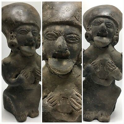 "Ancient Artifact Pottery Statue Aztec Mayan Meso Latin American Stone 8"" Effigy"