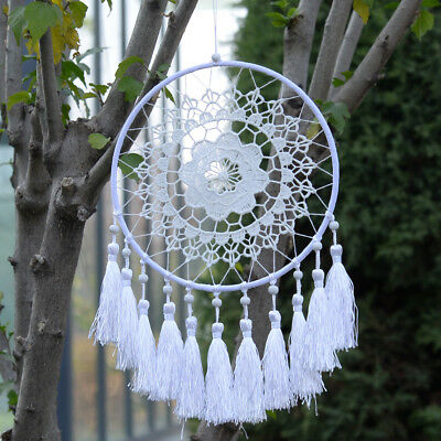 Handmade White Lace Dream Catcher With Feathers Wall Hanging Decoration Ornament