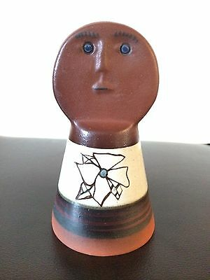 Vtg hand made, painted mud clay pottery bell, face Brown great condition