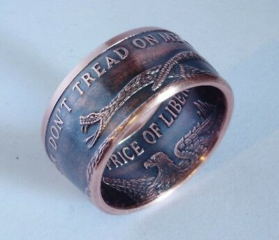 Don't Tread On Me  .999 Copper Coin Ring Size 6 - 24