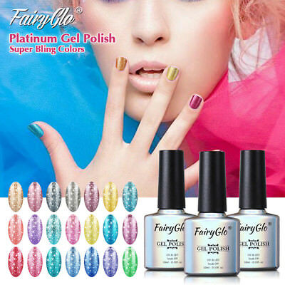 FairyGlo Platinum Color UV LED Soak Off Glitter Gel Nail Polish Top Coat Varnish
